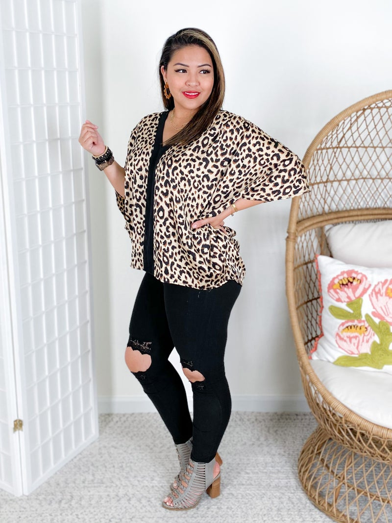 Leopard Print Dolman Top with Black Accent