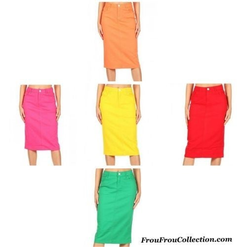 Sarah ~ Be-Girl Twill Denim Midi Skirts ~ More Colors *Final Sale*