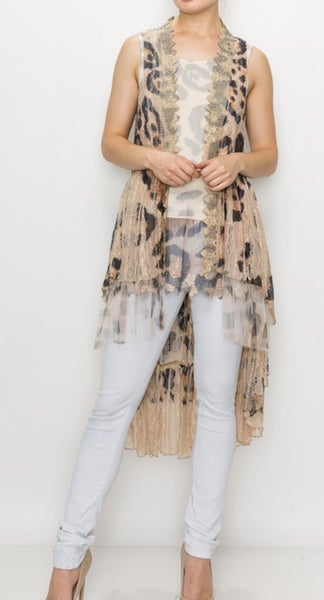 Origami ~ Leopard & Lace ~ Tulle/Lace Vest