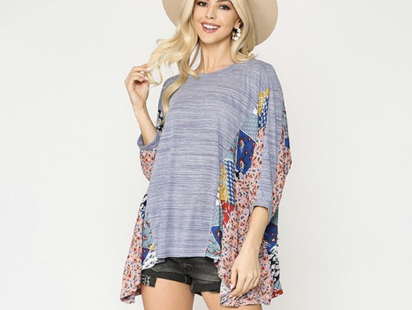 Suzanne ~ Mixed Print Loose Fit Top