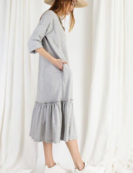 Grey Dress/Ruffle Bottom