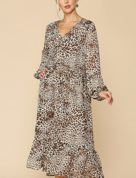 On the Wild Side ~ Bubble Sleeve Animal Print Midi dress