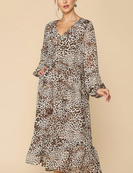 On the Wild Side ~ Bubble Sleeve Animal Print Midi dress