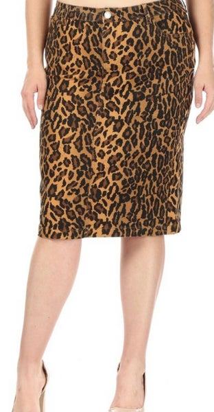 "Sarah ~ Be-Girl Twill Denim 28"" Midi Skirt ~ Leopard"
