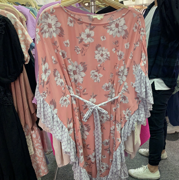 Floral Ruffle Poncho