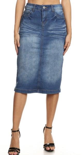 Be-Girl Classic Midi Denim Skirt - #239 ~ More Colors!