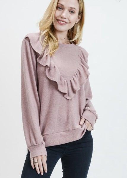V Ruffle Sweater - Mauve or Oatmeal *Final Sale*