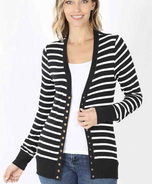 Striped Snap Button Cardigan *Final Sale*