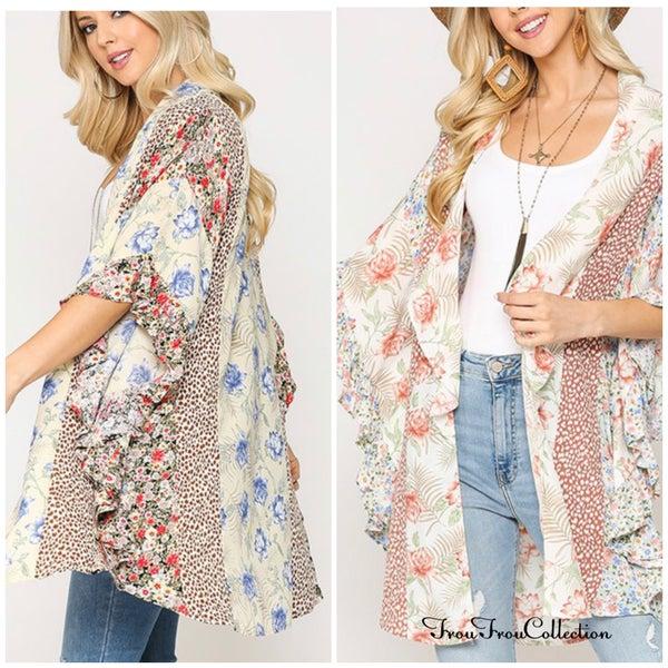 Addison ~ Mixed print Ruffled Kimono