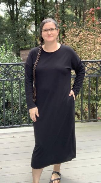 Maddie Solid Midi Dress - Black or Grey *Final Sale*