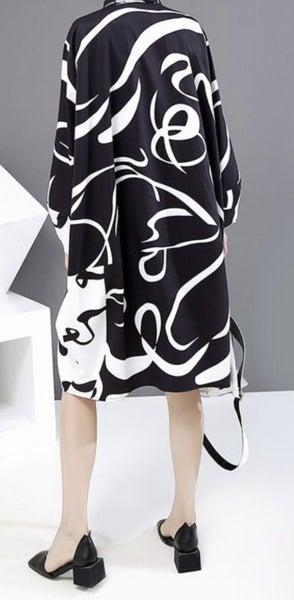 Ava - Black/White Swirl Tunic Top ~ Plus Size