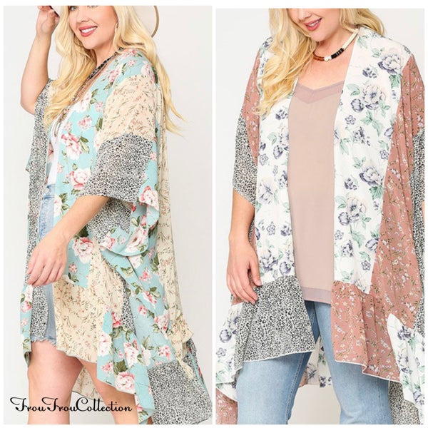 Bella ~ Floral/Animal Mix Print Kimono