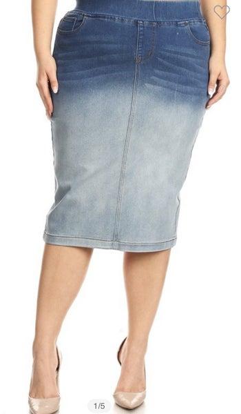 """Be-Girl Denim Skirt - 28"""" Ombre"""