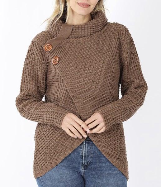 Cowl Neck Waffle Sweater ~ Mocha or Black *Final Sale*