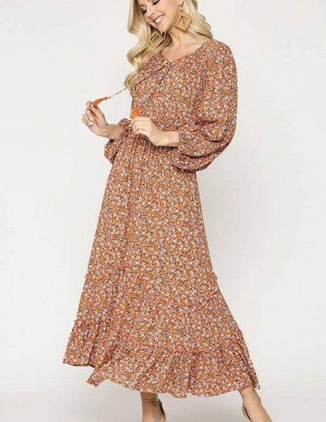 Florals All Around Maxi Dress ~ Apricot or Periwinkle