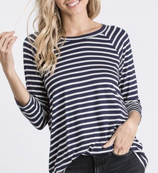 Black/White Stripe 3/4 sleeve
