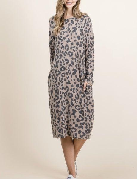 Maddie Midi Dress - Brown Leopard *Final Sale*