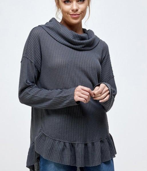 Tabitha ~ Waffle Knit Cowl Neck Top ~ More Colors! *Final Sale*