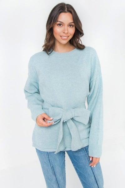 Belted Sweater - Light Blue *Final Sale*