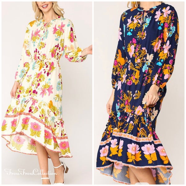 Strolling in the Park ~ Floral Hi/Lo Midi dress