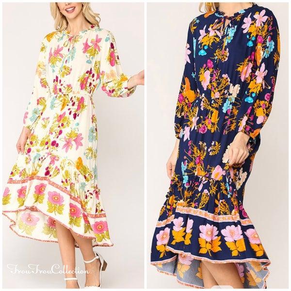 Strolling in the Park ~ Floral Hi/Lo Midi dress