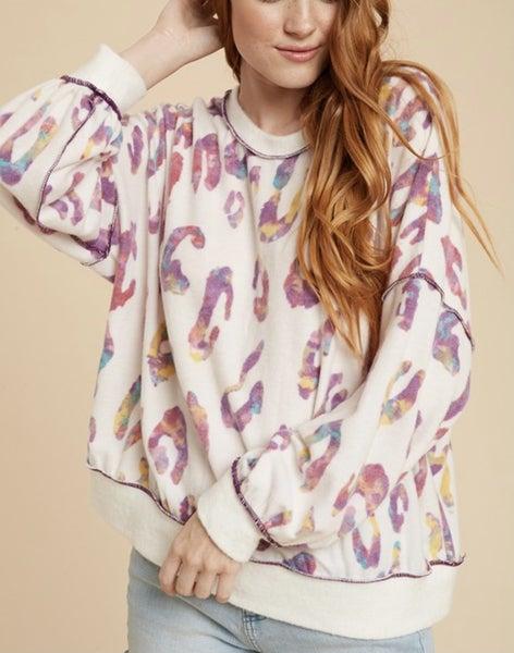 Lexie ~ Fuzzy Pink Leopard Top *Final Sale*