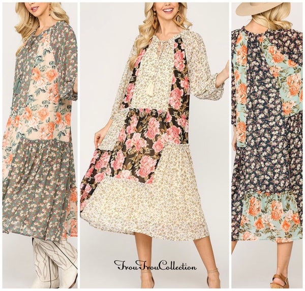 Spring Floral Dress ~ Floral Chiffon Dress - More Colors!