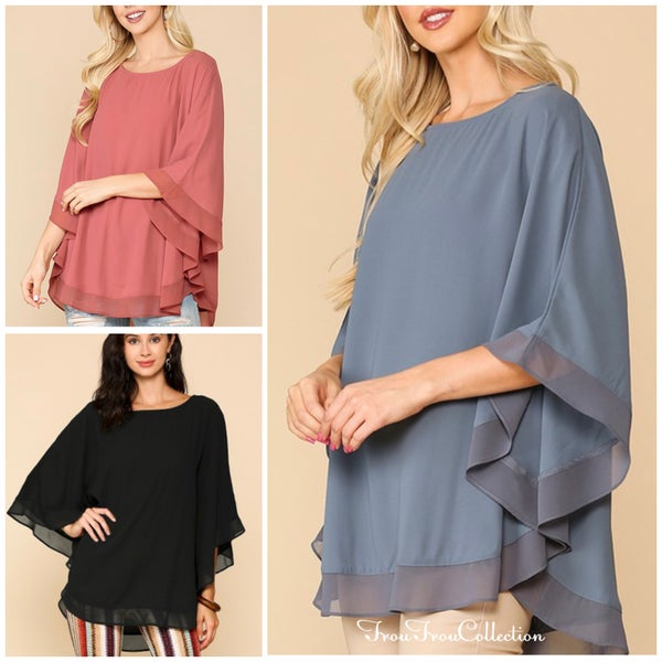 Lucy ~ Flowing Cape Style Top - More colors!