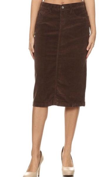 """Be-Girl ~ Brown Corduroy Midi Skirt ~ 28"""" length #337"""