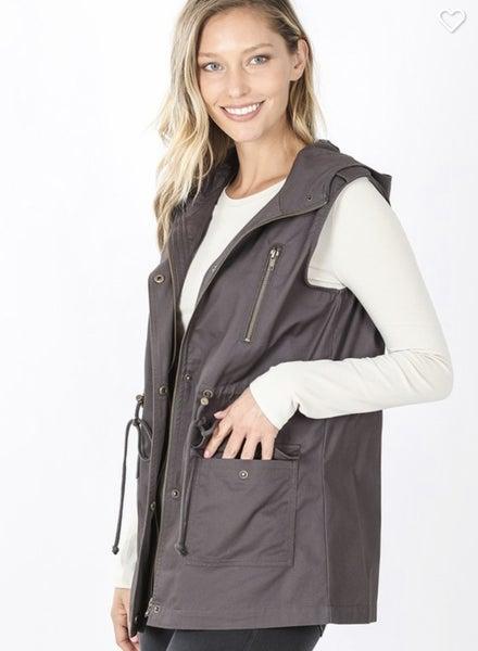 Stella ~ Military Hooded Vest *Final Sale*
