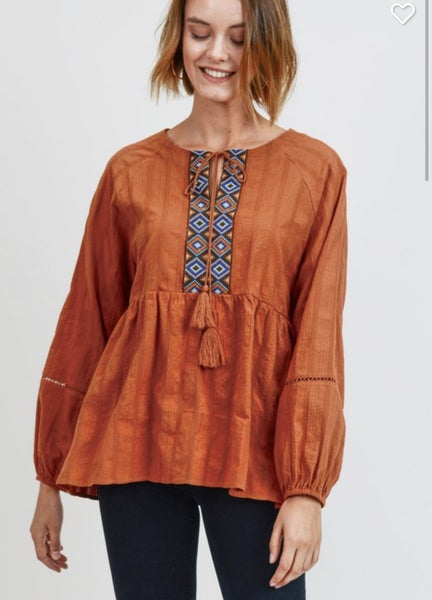 Rusty ~ Peplum Top with Embroidery *Final Sale*