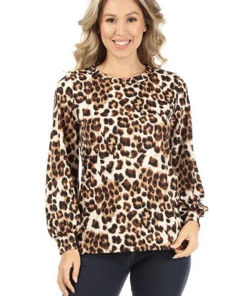 Jasmine ~ Leopard Bubble Sleeve Top