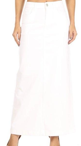 """Jennifer ~ White Long Twill Denim Skirt ~ Be-Girl 38"""""""