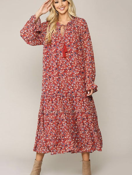 Floral Me Happy ~ Red Floral Chiffon Maxi Dress