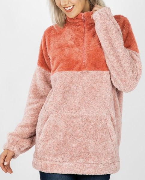 Coral Faux Fur Pullover *Final Sale*