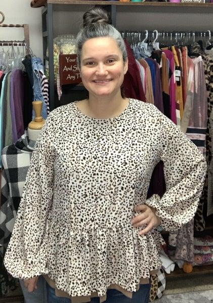 Stacey - Cheetah Peplum Top *Final Sale*