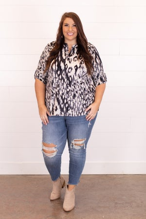 sku16991 | Mixed Print Tab Sleeve Top