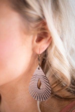 sku17796 | Wooden Feather Teardrop Earrings