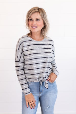sku14683 | **Daily Deal** Striped Front Tie Top