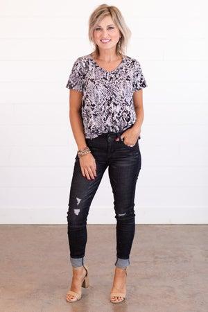 sku15255   Distressed Mid-Rise Skinny Jean