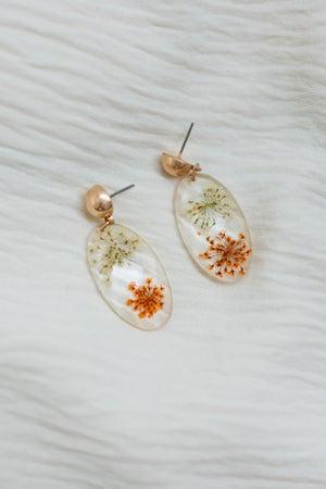 sku20707   Resin Encased Floral Dangle Earrings