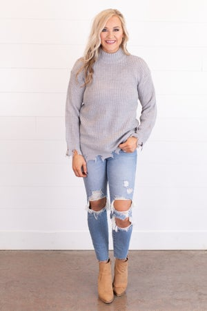 sku17508 | Distressed Mock Neck Sweater