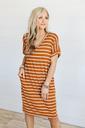 sku20553 | **Daily Deal** Striped Rolled Sleeve Shift Dress