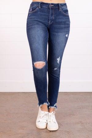 sku18063 | Distressed Mid Rise Skinny Jeans