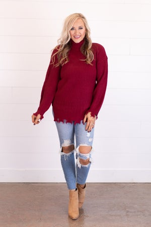 sku17507 | Distressed Mock Neck Sweater