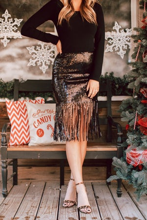 sku15714 | Sequin Fringe Skirt