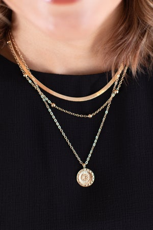 sku17960 | Layered Coin Pendant Necklace
