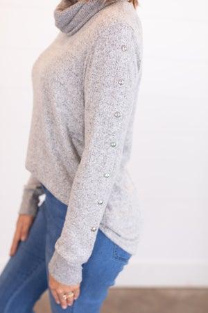 sku17808 | Button Detail Turtleneck Sweater