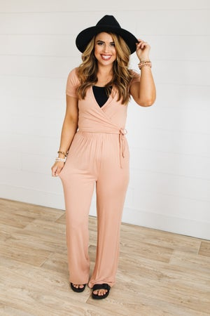 sku20231 | Two Piece Cropped Surplice Top And Pants Set