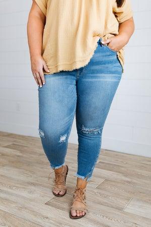 sku18755   Distressed Split Hem Skinny Jeans